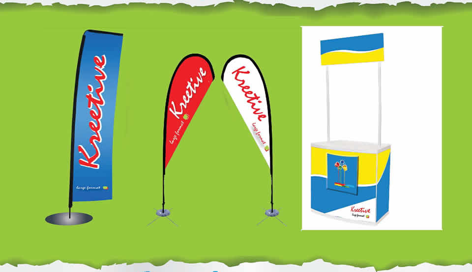 Flying & tear drop banners | Point of sale Kiosk